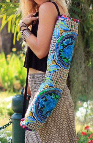 Blue Rose Yoga Mat Bag