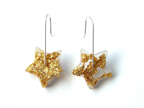 SALE Gold Star Resin Earrings