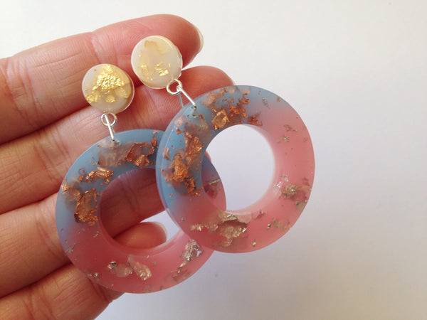 SALE Pastel Blue + Peach Donut Drop Stud Earrings