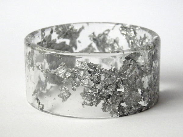 SALE Silver Resin Cuff Bangle
