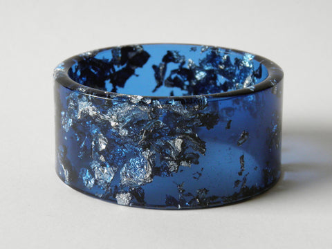 SAMPLE SALE Bright Blue Resin Cuff Bangle / SMALL SIZE
