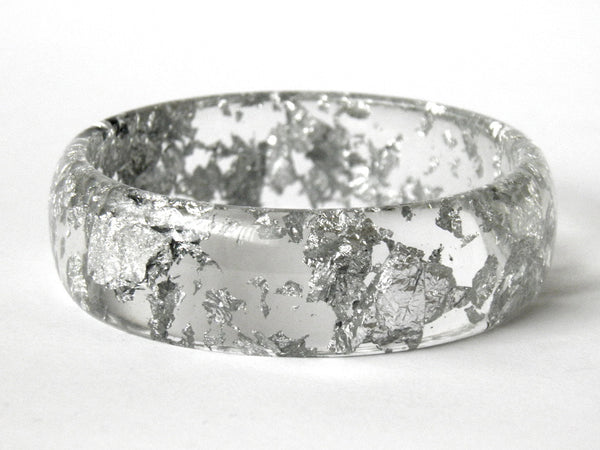 Resin + Silver Leaf Midi Bangle