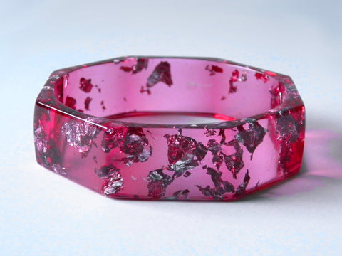SAMPLE SALE: Hot Pink + Silver Octagon Bangle