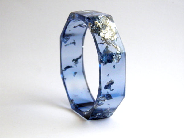 Discontinued Sale: Blue + Silver Octagon Bangle