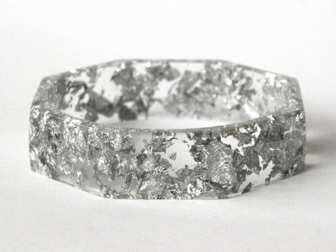 SALE Silver Octagon Bangle