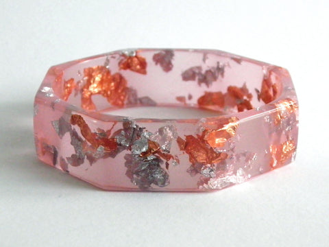 SALE Peach, Copper + Silver Octagon Bangle