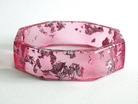 SALE Pink + Silver Octagon Bangle