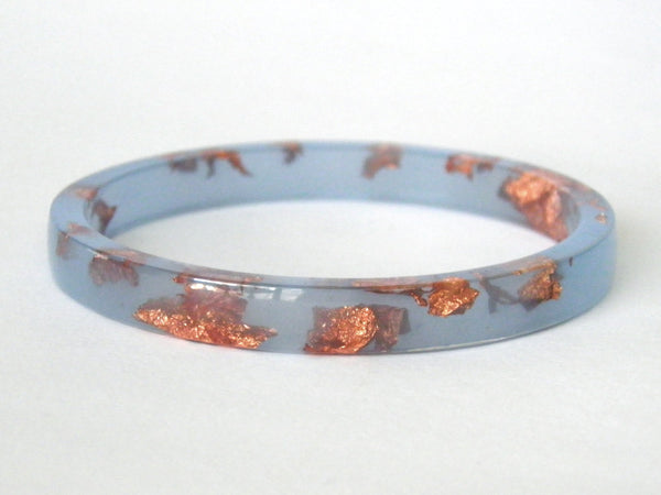 Pastel Blue + Copper Resin Stacker Bangle / REGULAR SIZE