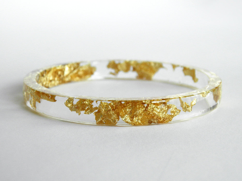 Resin + Gold Leaf Stacker Bangle / REGULAR SIZE