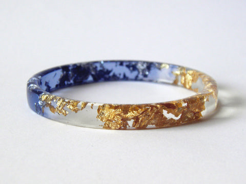 SAMPLE SALE Gold + Blue Stacker Bangle / REGULAR SIZE