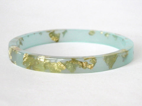 SALE Mint + Gold Resin Stacker Bangle / REGULAR SIZE