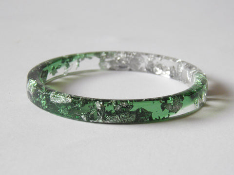SAMPLE SALE Silver + Green Stacker Bangle / REGULAR SIZE