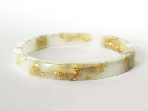 SALE White + Gold Resin Stacker Bangle / REGULAR SIZE