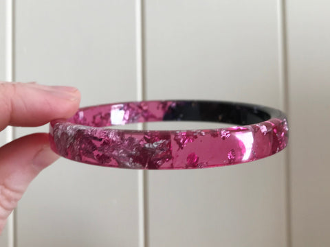 SALE Pink + Black Stacker Bangle / REGULAR SIZE
