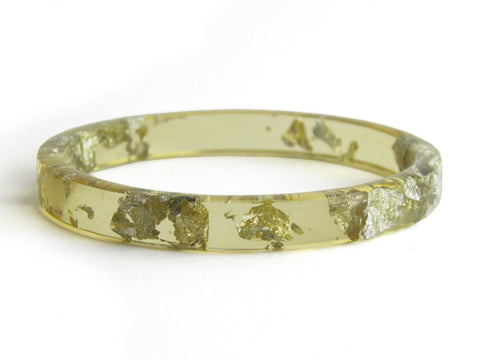 SALE Chartreuse & Silver Stacker Bangle / REGULAR SIZE