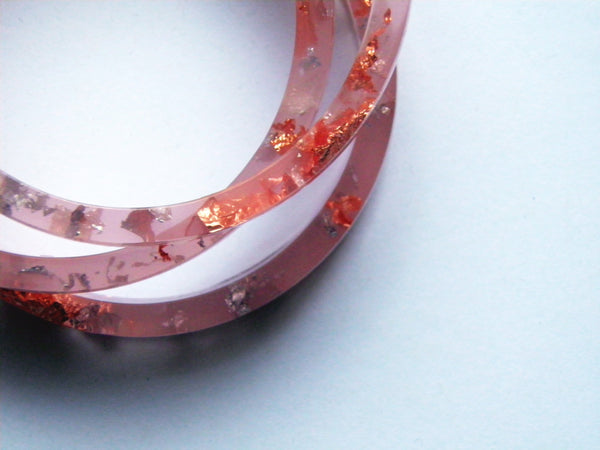 SALE Peach, Copper & Silver Stacker Bangle / REGULAR SIZE