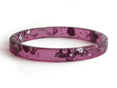 Plum & Silver Stacker Bangle / REGULAR SIZE