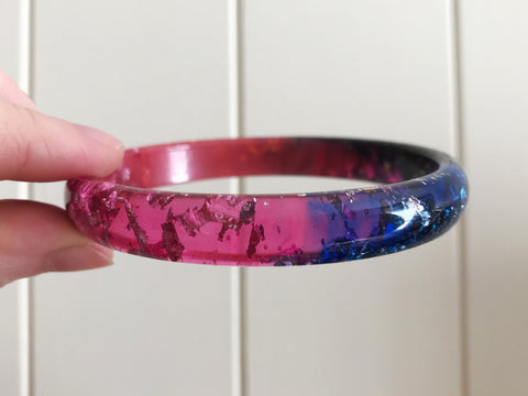 SALE Pink, Black + Blue Stacker Bangle / LARGE SIZE