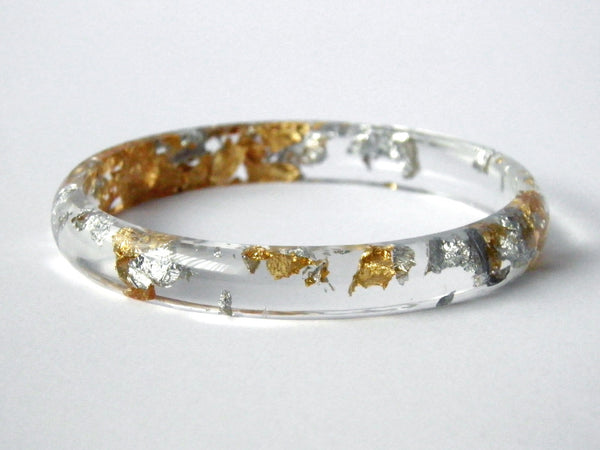 SALE Fancy Clear Stacker Bangle / LARGE SIZE