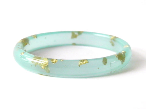 SALE Mint + Gold Stacker Bangle / LARGE SIZE