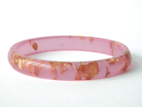 SALE Pastel Pink + Gold Stacker Bangle / LARGE SIZE