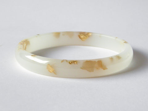 SALE: Gold + White Resin Stacker Bangle / LARGE SIZE