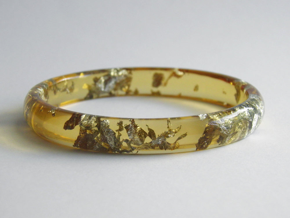 SALE: Honey + Silver Resin Stacker Bangle / LARGE SIZE