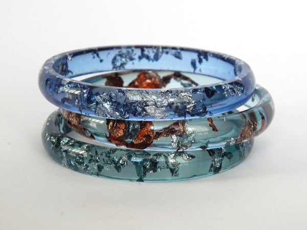 Discontinued Sale: Blue + Silver Stacker Bangle / LARGE SIZE