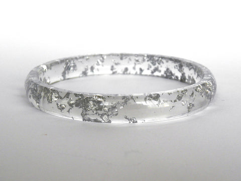 Silver Stacker Bangle / LARGE SIZE