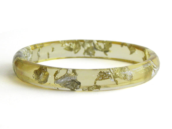 SALE Chartreuse + Silver Stacker Bangle / LARGE SIZE
