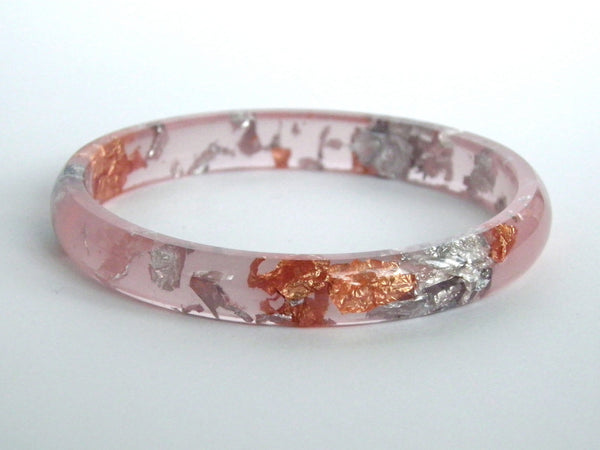 Peach, Copper + Silver Stacker Bangle / LARGE SIZE