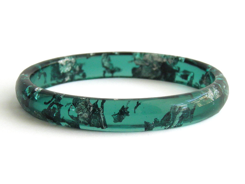 Green + Silver Stacker Bangle / LARGE SIZE