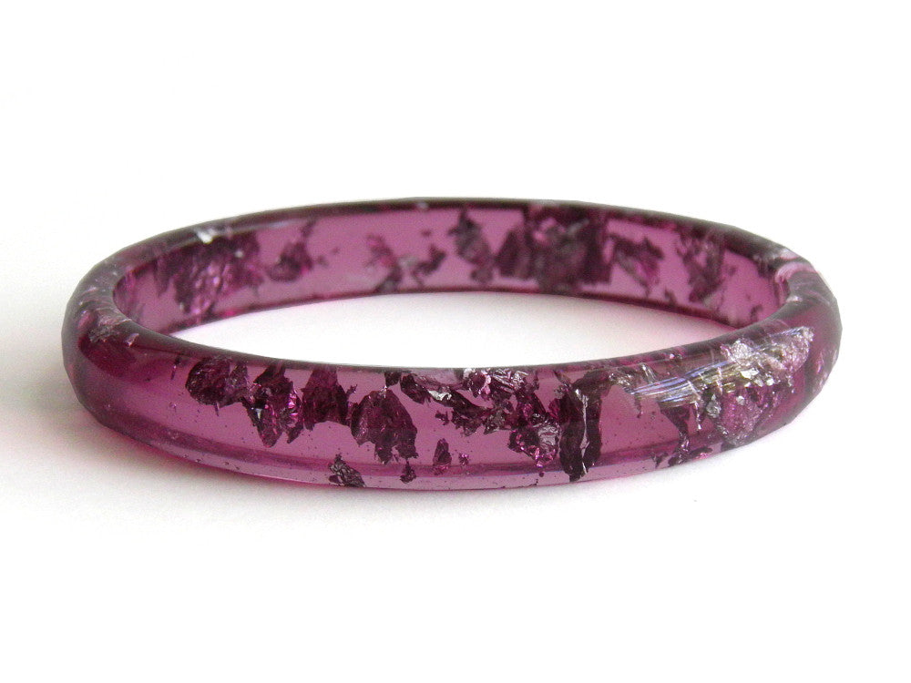 Plum + Silver Stacker Bangle / LARGE SIZE