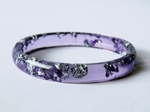 Discontinued Sale: Purple + Silver Stacker Bangle / LARGE SIZE