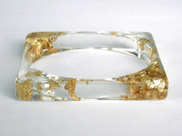 Gold Resin Square Bangle