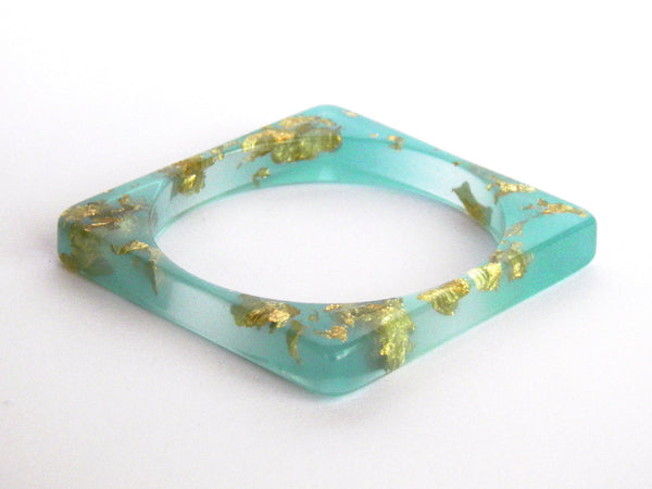 Mint + Gold Square Resin Bangle