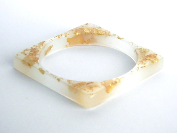 SALE White + Gold Square Bangle