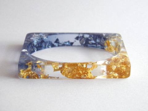 SAMPLE SALE: Blue and Gold Resin Bangle