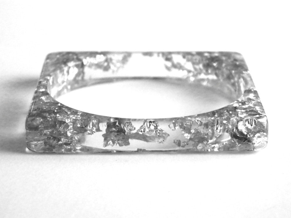 SALE Silver Resin Square Bangle