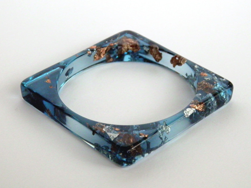 Discontinued Sale: Jade, Copper + Silver Square Resin Bangle