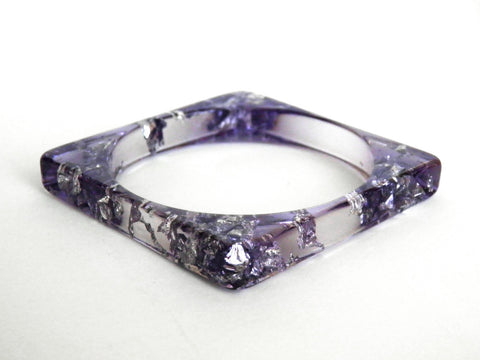 Discontinued Sale: Purple + Silver Square Resin Bangle