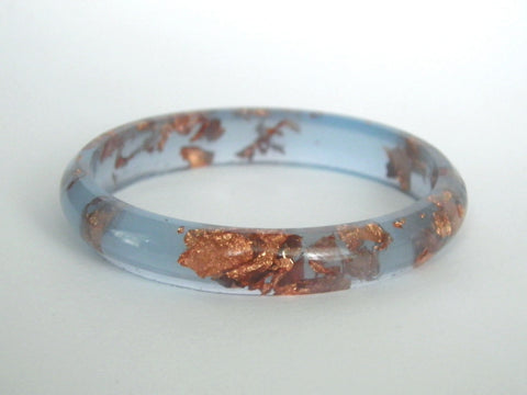 Pastel Blue + Copper Resin Stacker Bangle / SMALL SIZE