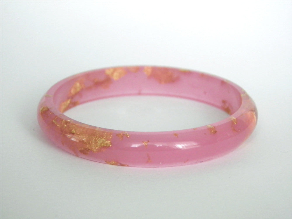 SALE Pastel Pink + Gold Resin Stacker Bangle / SMALL SIZE