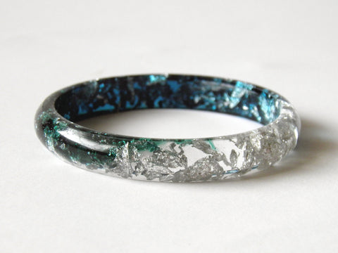 SAMPLE SALE: Jade / Green / Silver Stacker Bangle / SMALL SIZE