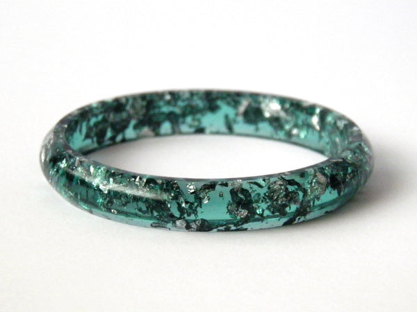 SALE Green + Silver Stacker Bangle / SMALL SIZE