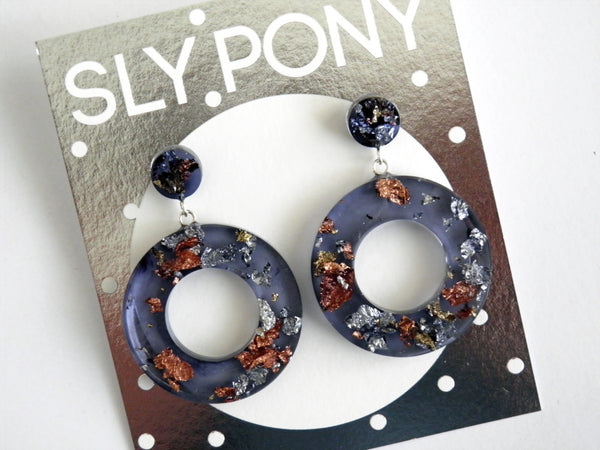 Nebula Donut Drop Stud Earrings