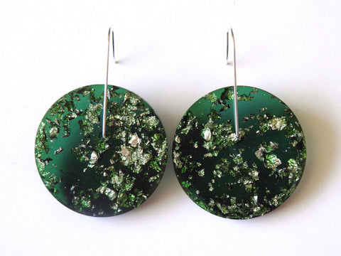 SALE Green + Silver Circle Earrings / Large