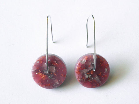 SALE Peach Circle Resin Earrings / Mini