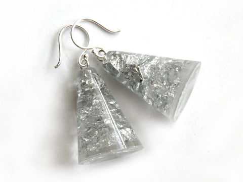 SALE Silver Resin Cone Earrings