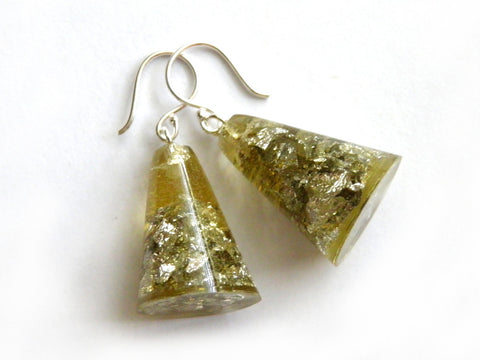 SALE Chartreuse + Silver Resin Cone Earrings